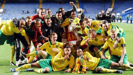 Action from the FA Youth Cup final at Stamford Bridge between Chelsea and Norwich City - City celebr