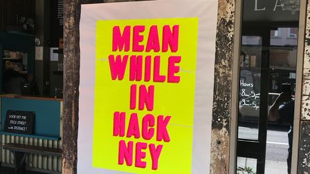 """Real Hackney Dave's pink on yellow print """"Meanwhile In Hackney"""" ."""