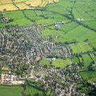 Aerial view of Congresbury where tattooed apples decided the strips of land you got