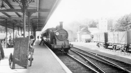 A train arrives at Sidmouth station