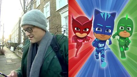 Dominic Cummings (left) speaks to the BBC and the PJ Masks (right).