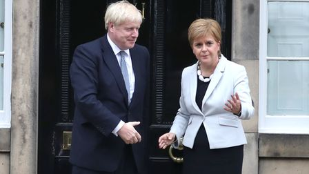 RETRANSMITTED CORRECTING BYLINE Scotland's First Minister Nicola Sturgeon welcomes Prime Minister Bo