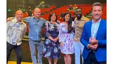 Kate Mills (third from right) and Michael Baah (second from right) with (from left to right) Kate's dad John Mills, her...