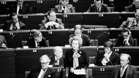 Margaret Thatcher Speaking at a European Council meeting