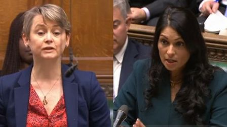 Yvette Cooper speaks in the House of Commons (left) and Priti Patel responds (right). Photograph: Pa