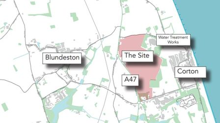 The site area set to be transformed withthe garden village on the North Of Lowestoft Consultation website.