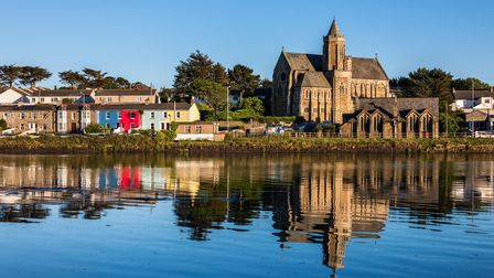 St Elwyn's Church; with Reflection; Hayle; Cornwall; UK