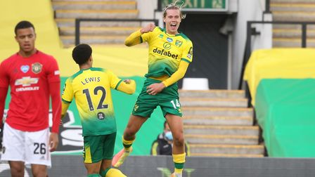 Todd Cantwell was jumping for joy after scoring for Norwich against Manchester United in the FA Cup