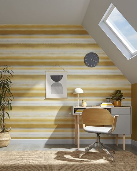 Horizon Mustard Wallpaper, other items from Graham and Brown