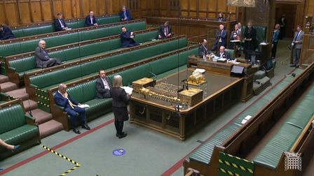 The vote is read out in the House of Commons, London on the motion to approve regulations related to