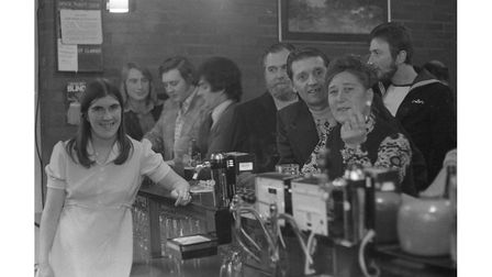 Behind the bar at the Smock Pub in Ipswich in 1974