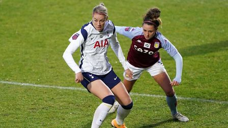 Tottenham Hotspur's Alanna Kennedy (right) and Aston Villa's Ramona Petzelberger battle for the ball