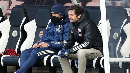 Arsenal manager Joe Montemurro (right) watches on during the FA Women's Super League match at the Me