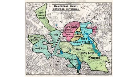 """The """"Chubb map"""" of Hampstead Heath from 1928."""