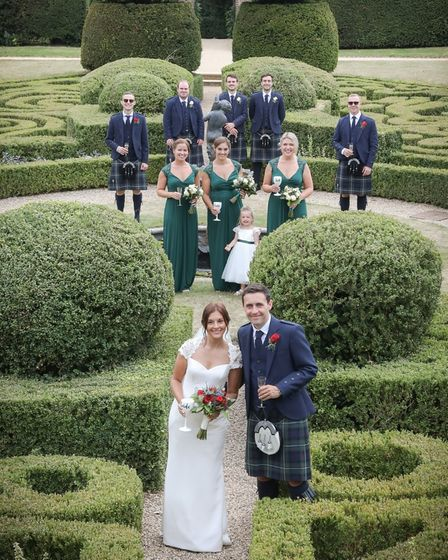 wedding photograph in Bridge End Garden