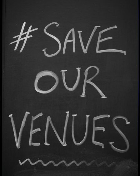 """Fiddler's Elbow in Camden sign says: """"#Save Our Venues"""""""