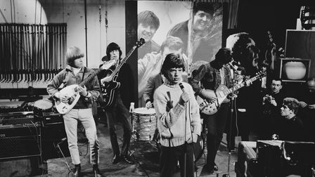The Rolling Stones rehearsing for an appearance on Ready Steady Go!in 1965. Left to right: Brian Jones, Bill Wyman, Mick...