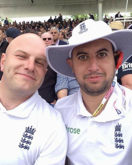 Jamie Slade with best friend Craig Wright at Edgbaston, watching the Ashes