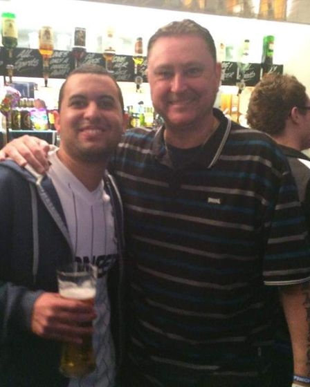 Jamie Slade with fellow darts and Ipswich Town fan Kevin Painter