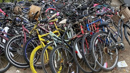 Pile of abandoned bicycles