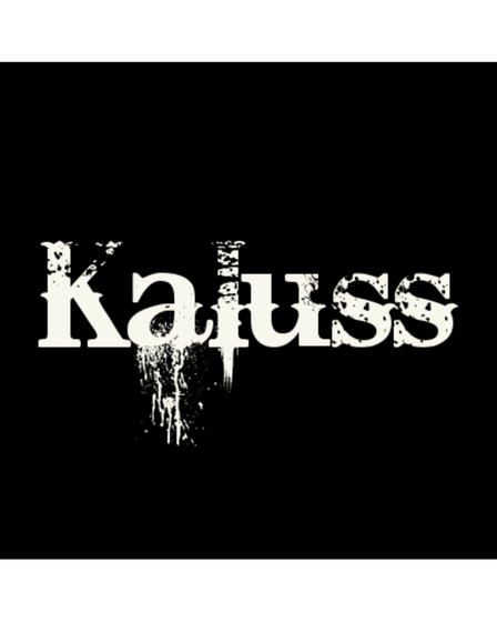 The Kaluss logo, white words on a black background