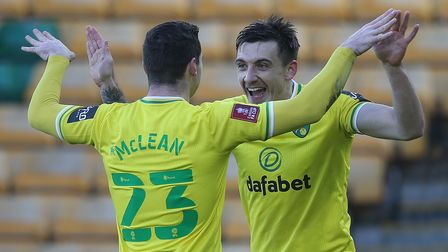 Jordan Hugill of Norwich celebrates scoring his sides 2nd goal with the scorer of the 1st, Kenny McL
