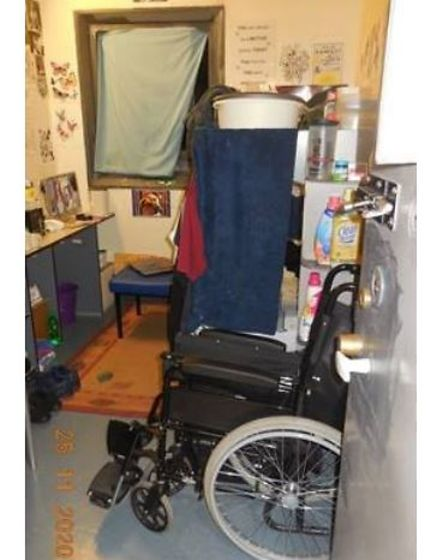 Not exactly wheelchair friendly - the photo was taken by inspectors during a visit to Peterborough prison