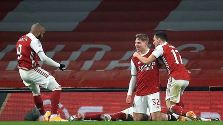 Arsenal's Emile Smith Rowe (second right) celebrates scoring his side's first goal of the game with