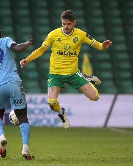Julien Dacosta of Coventry City and Xavier Quintilla of Norwich in action during the FA Cup match at