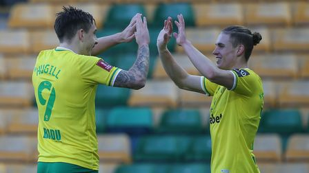 Jordan Hugill of Norwich celebrates scoring his sides 2nd goal during the FA Cup match at Carrow Roa