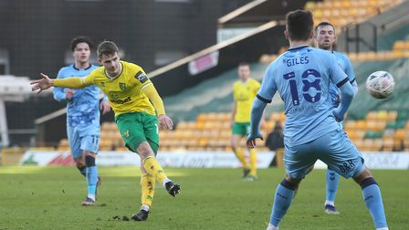 Jacob Sorensen of Norwich has a shot on goal during the FA Cup match at Carrow Road, NorwichPictur