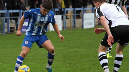 Jay Murray on the ball for Clevedon