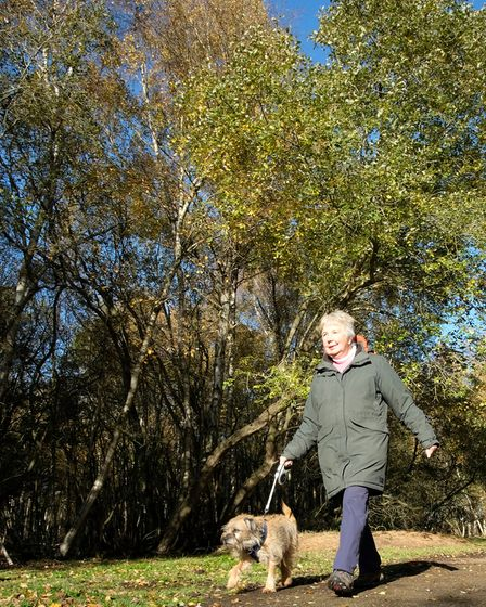 Author Margaret Atherden and pet terrier Bertie enjoy one of the walks in her new book on Yorkshire'