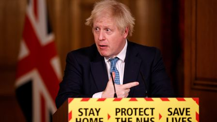 Prime Minister Boris Johnson during a media briefing on coronavirus (COVID-19) in Downing Street