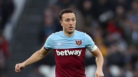 West Ham United's Mark Noble during the FA Cup fourth round match at the London Stadium.