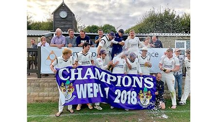 Clevedon Cricket Club celebrating winning the West of England Premier One title