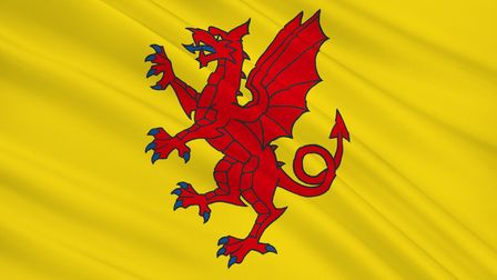 Flag of Somerset is a county in South West England, United Kingdom of Great Britain