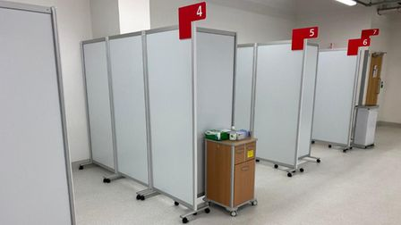 Cubicles at the Ambulance Receiving Centre, which is set to open at Queen's Hospital in Romford.