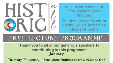 poster showing free lecture dates
