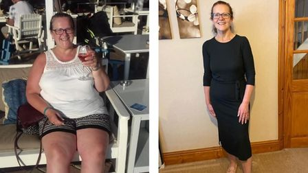 Before and after pictures of Tracey Rushton, who lost eight stone thanks to Slimming World