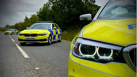 Police vehicles lined up in a roadside layby