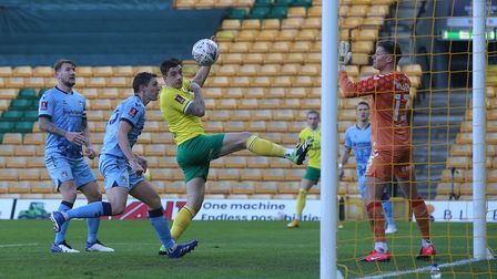 Jordan Hugill of Norwich scores his sides 2nd goal during the FA Cup match at Carrow Road, Norwich