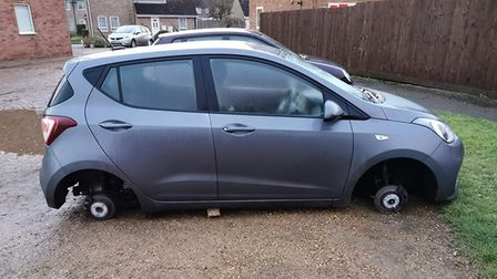 A group of thieves stole all four wheels from the car parked just off Windsor Drive in Wisbech at around 7pm on Sunday...