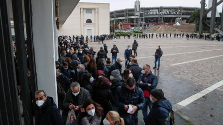 NAPLES, CAMPANIA, ITALY - 2021/01/08: Hundreds of health workers lined up to be vaccinated against t