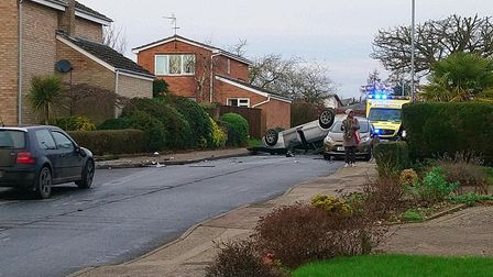 The overturned car in Radcliffe Drive, Chantry