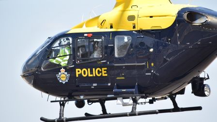 Dizzie in the police helicopter. Picture: Herts Police.