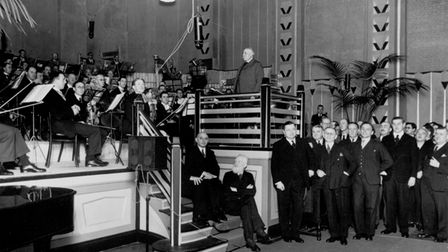 Sir Edward Elgar at the opening ceremony of Abbey Road Studios, November 12, 1931. He is pictured