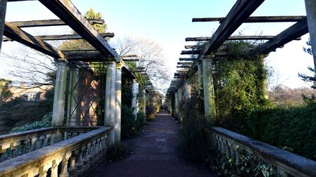 The walkways of the pergola at Golders Hill Park.
