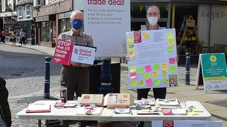Global Justice Herts and Beds'David Ashton (left) andNorth Herts Friends of the Earth'sPeter Foord (right).