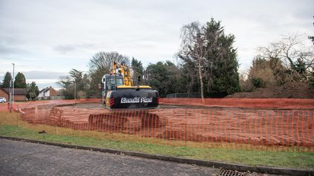 The green area off Bladen Drive in Ipswich is to be used as a site compound